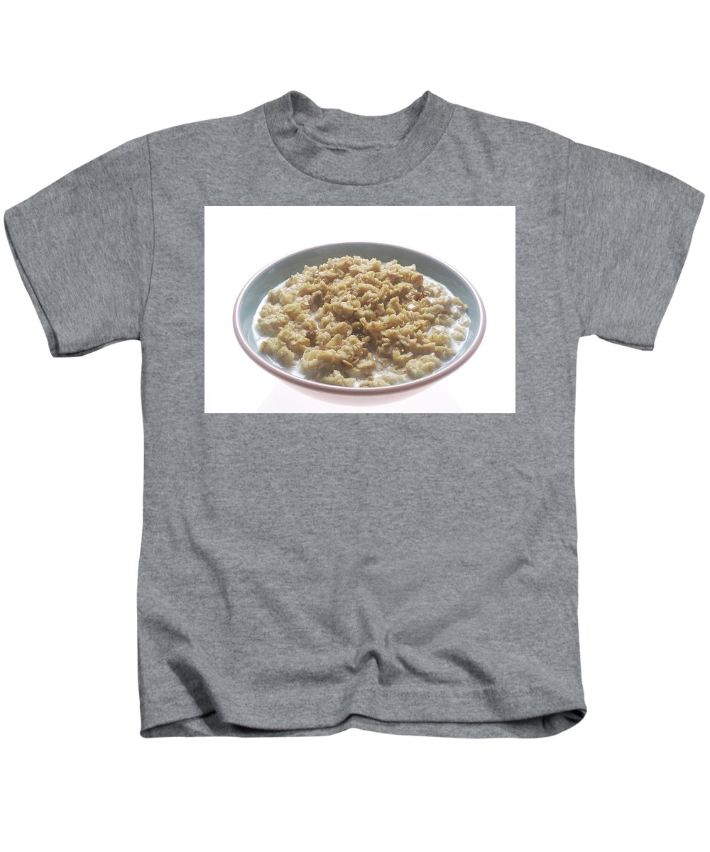 Oatmeal Kids T-Shirt featuring the photograph Bowl Of Oatmeal by PhotographyAssociates