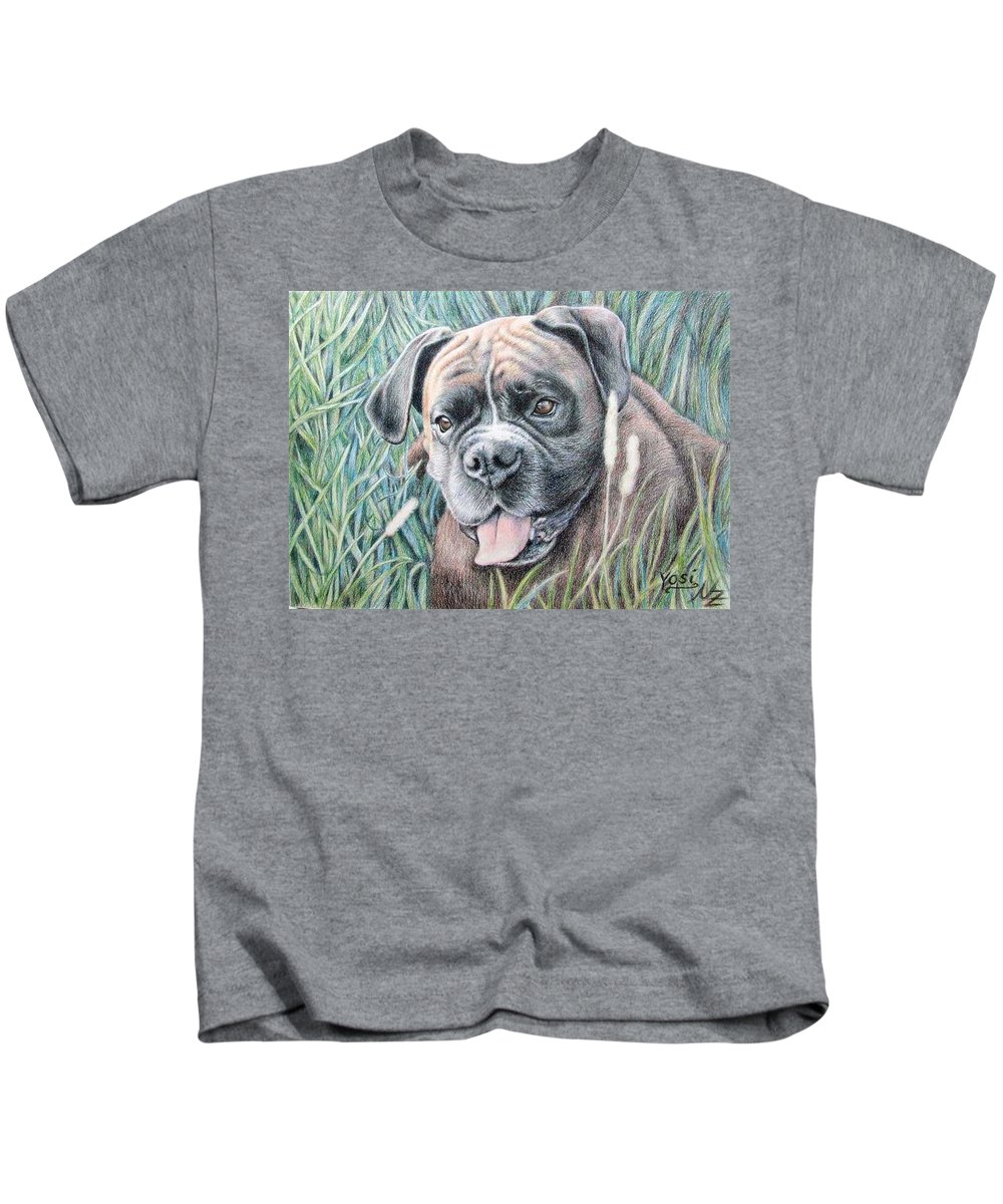 Dog Kids T-Shirt featuring the drawing Boxer Yosi by Nicole Zeug