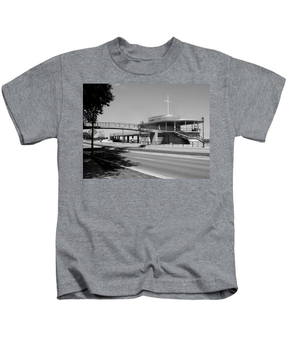 Bradford Beach House Kids T-Shirt featuring the photograph Bradford Beach House B-w by Anita Burgermeister
