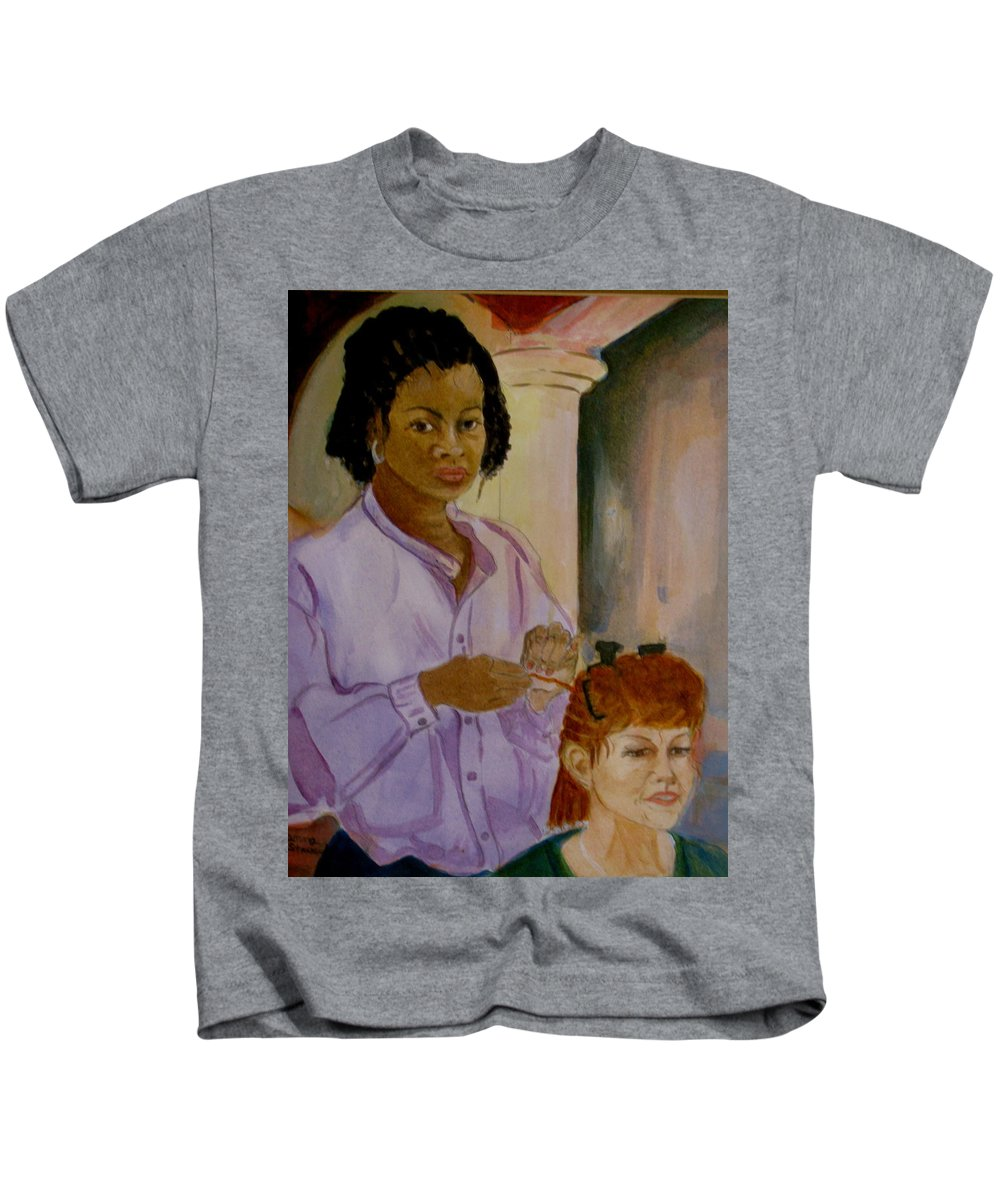 Island Girl Kids T-Shirt featuring the painting Braids by Donna Steward