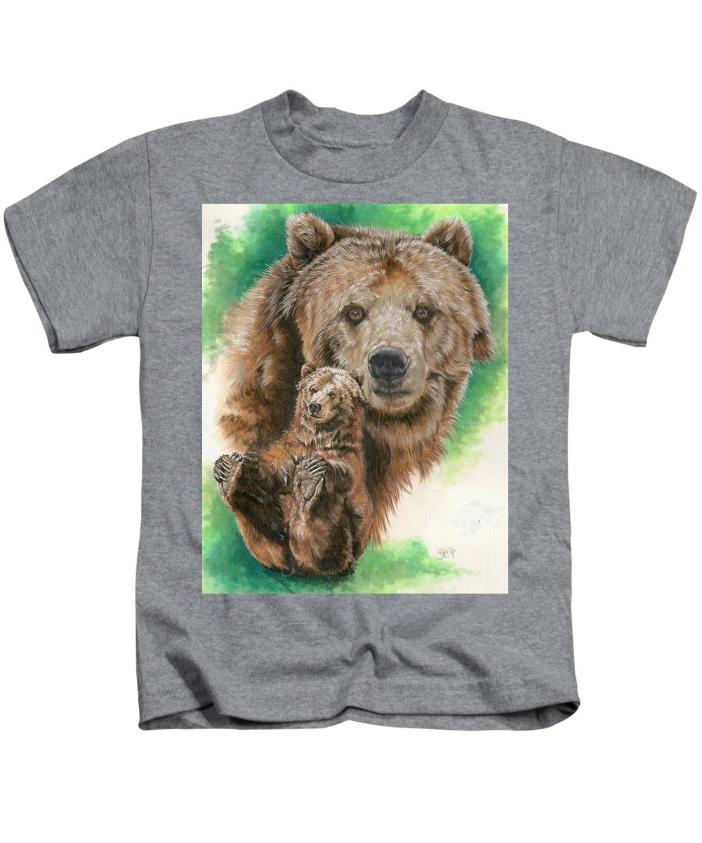 Bear Kids T-Shirt featuring the mixed media Brawny by Barbara Keith
