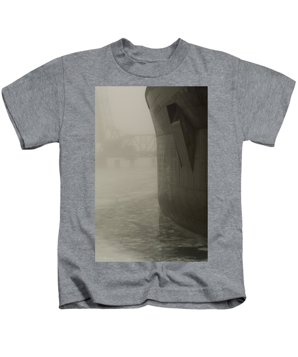 Water Kids T-Shirt featuring the photograph Bridge And Barge by Tim Nyberg