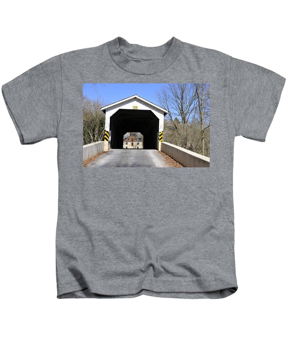 Covered Bridge Kids T-Shirt featuring the photograph Bridge At The Mill. by David Arment