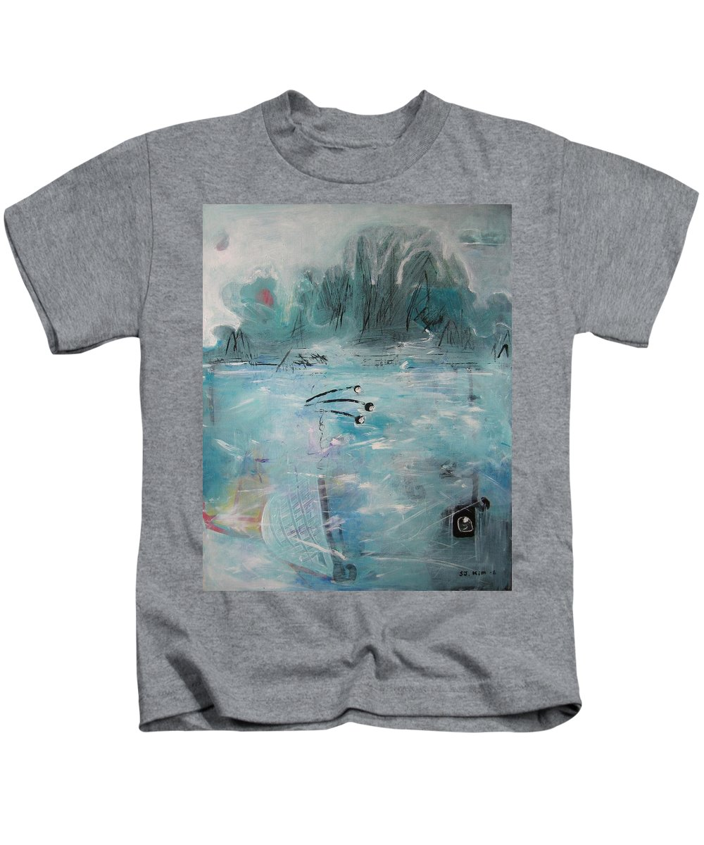 Abstract Paintings Kids T-Shirt featuring the painting Brierly Beach by Seon-Jeong Kim