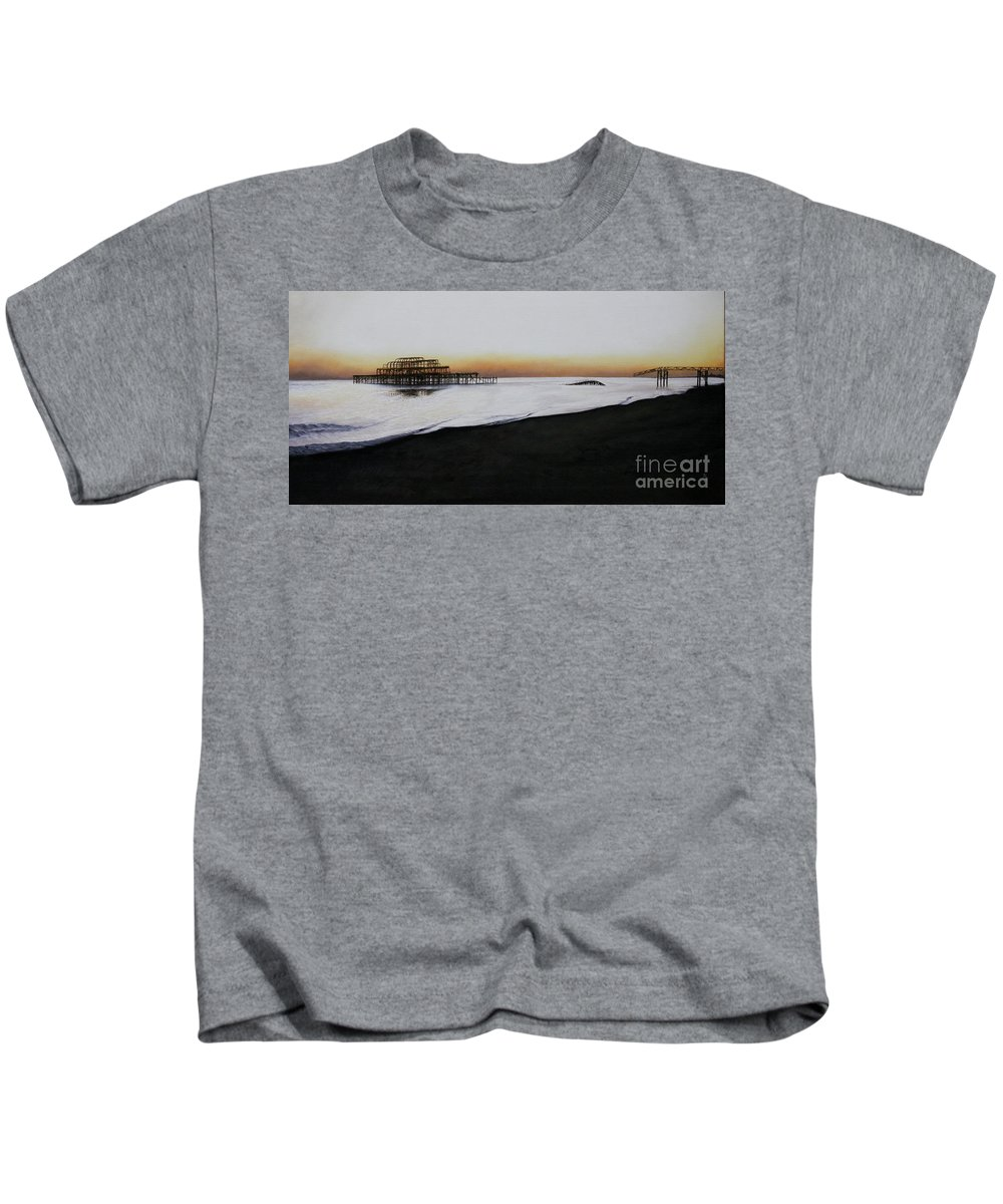 Oil Kids T-Shirt featuring the painting Brighton West Pier-tranquil Sunset by Pauline Sharp