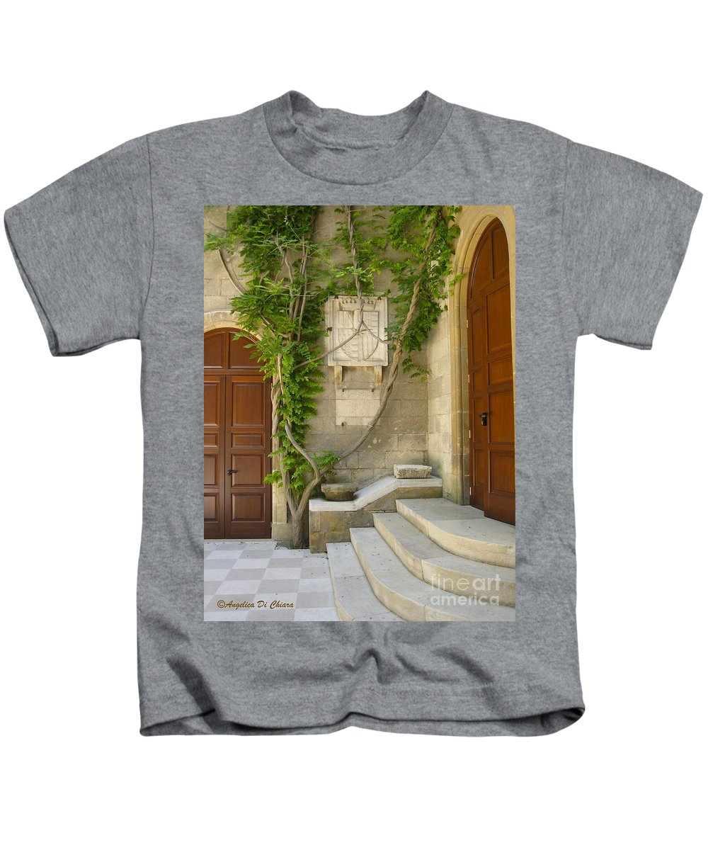Cityscape Kids T-Shirt featuring the photograph Brindisi- Library Door by Italian Art