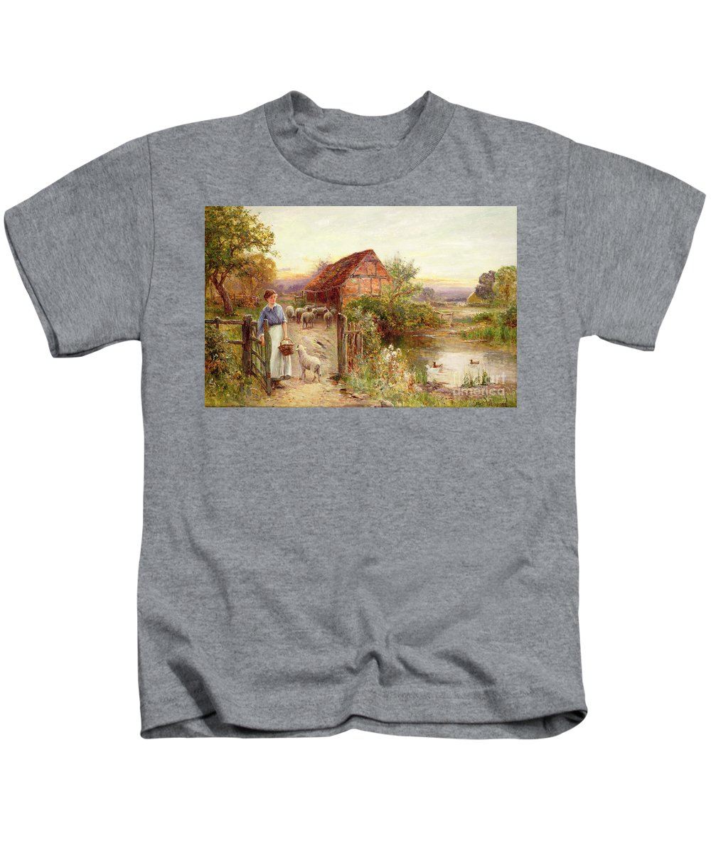 Bringing Home The Sheep By Ernest Walbourn (1872-1927) Kids T-Shirt featuring the painting Bringing Home The Sheep by Ernest Walbourn