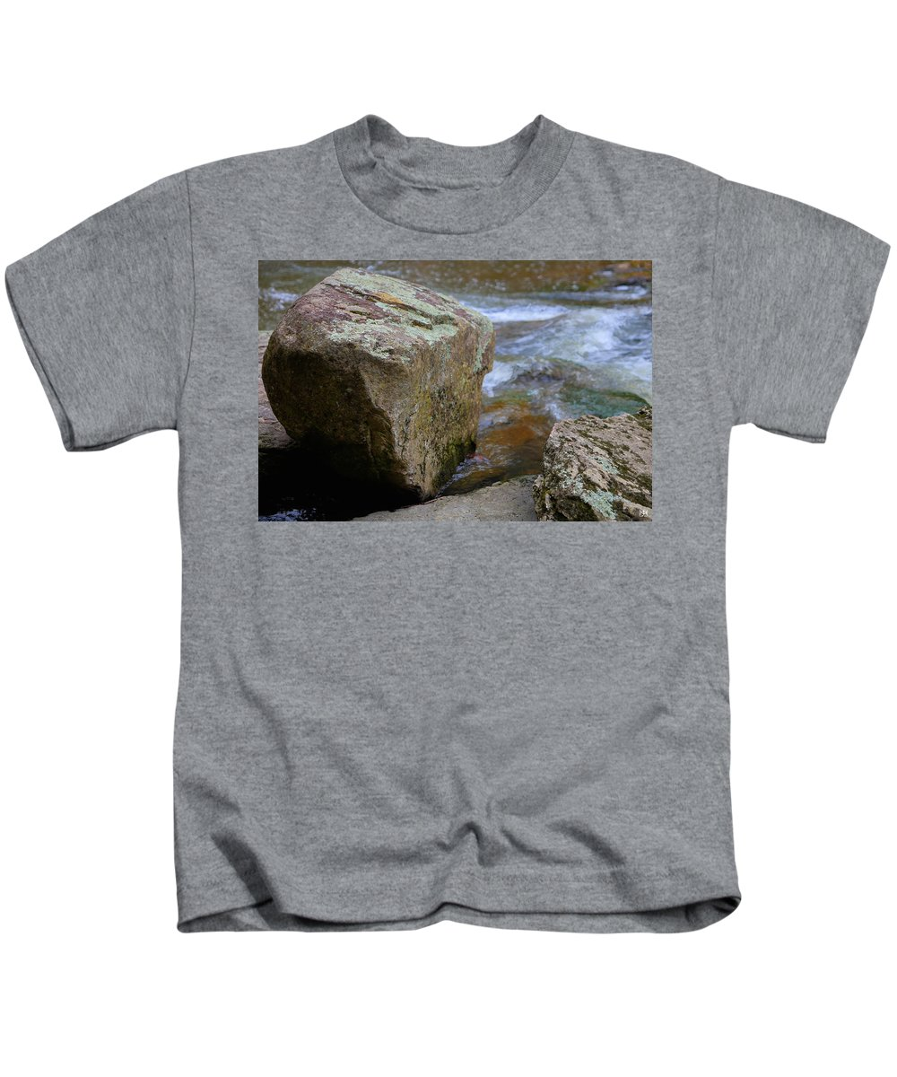 Boulder Kids T-Shirt featuring the photograph Brook And Boulder by John Meader