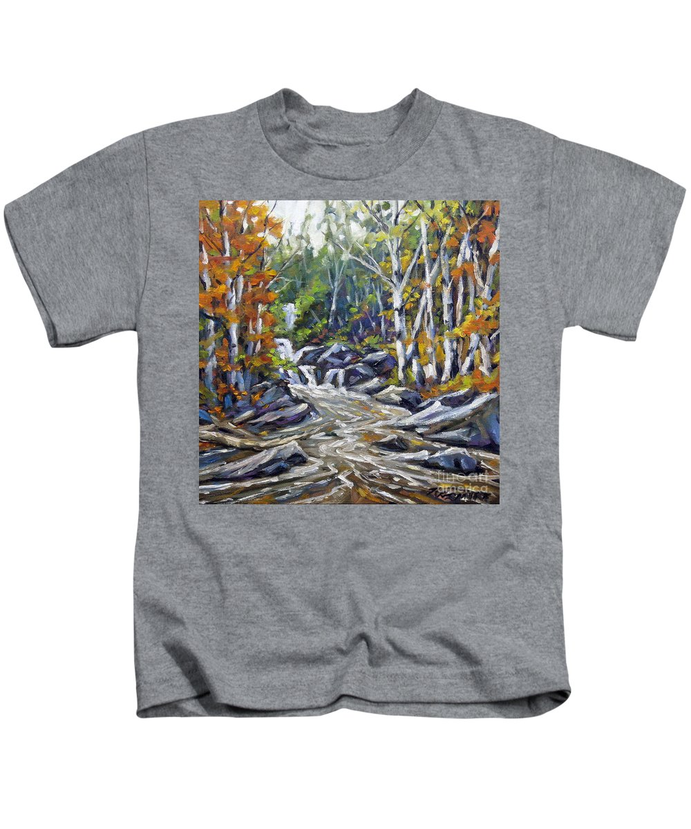 Oil Kids T-Shirt featuring the painting Brook Traversing Wood by Richard T Pranke
