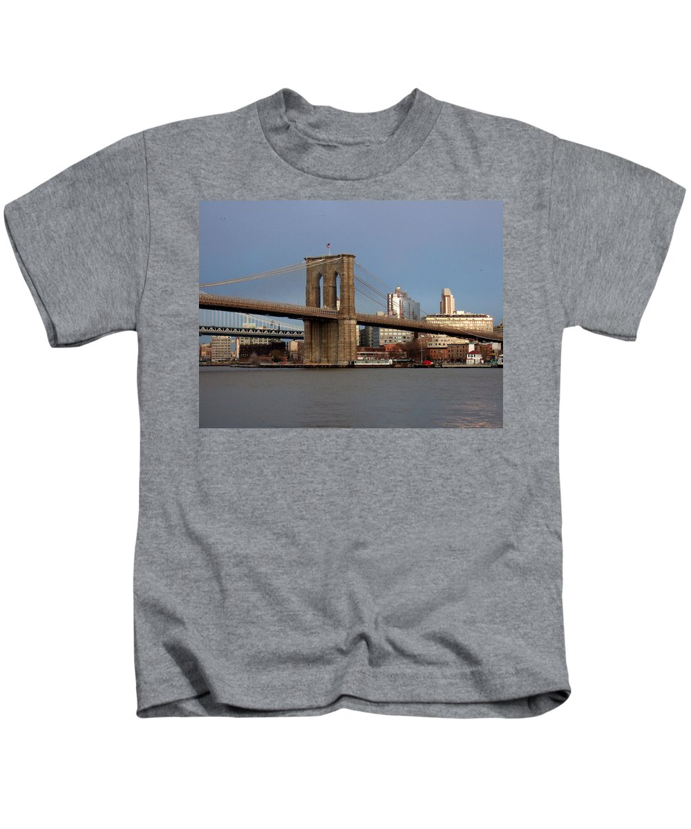 Brooklyn Bridge Kids T-Shirt featuring the photograph Brooklyn Bridge by Anita Burgermeister