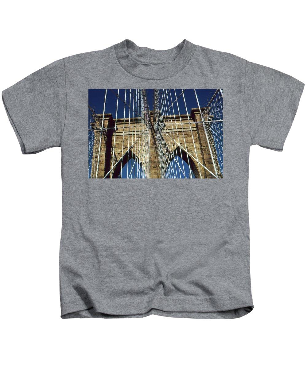 Brooklyn+bridge Kids T-Shirt featuring the photograph Brooklyn Bridge New York City by Peter Potter