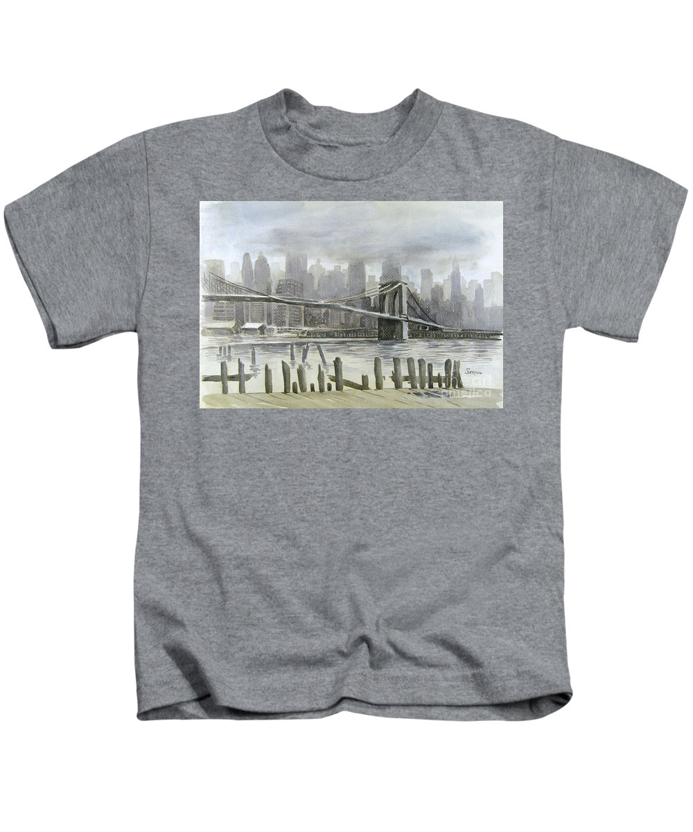 Brooklyn Bridge Kids T-Shirt featuring the painting Brooklyn Bridge by Stephen Serina