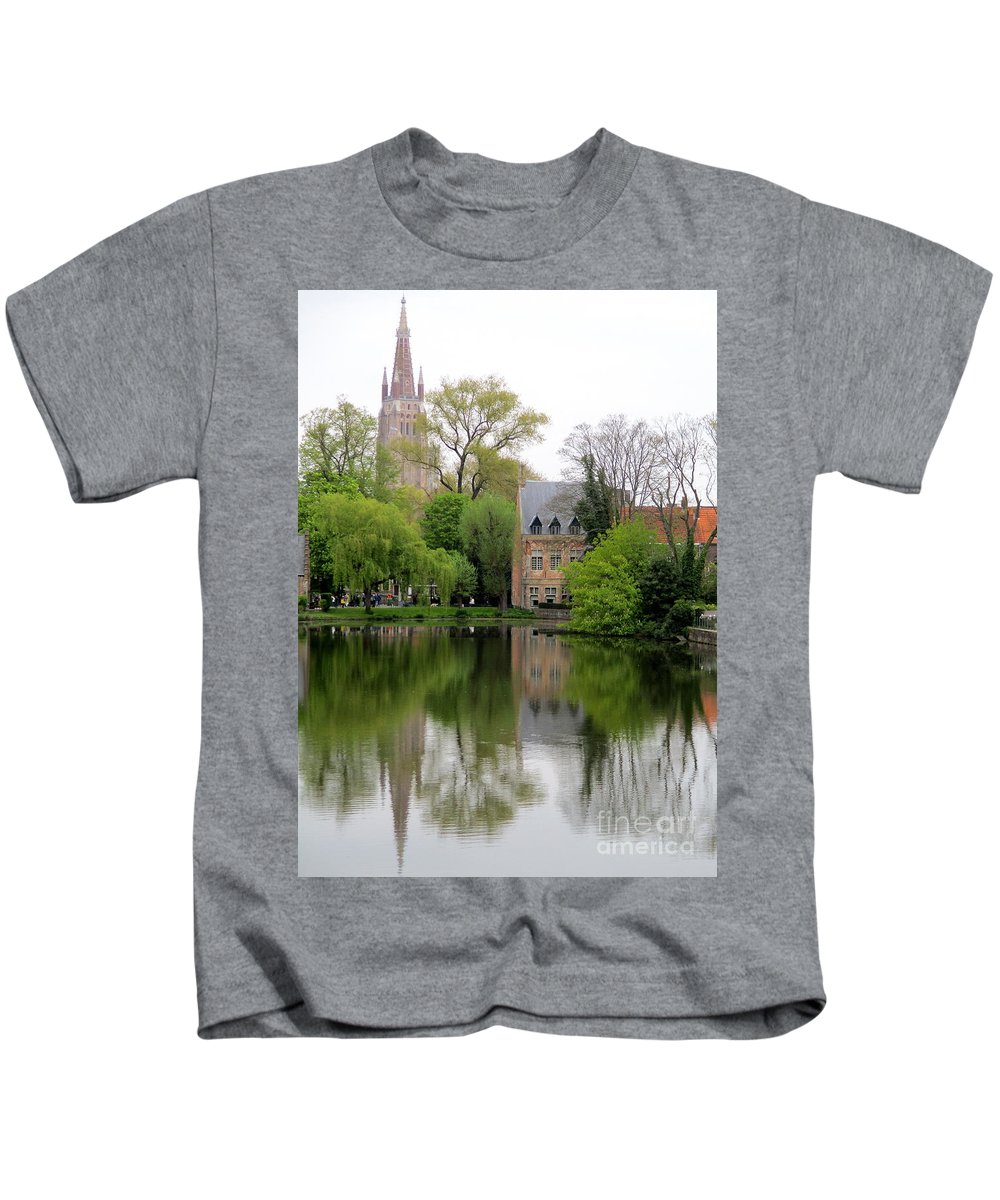 Bruges Kids T-Shirt featuring the photograph Bruges Minnewater 4 by Randall Weidner