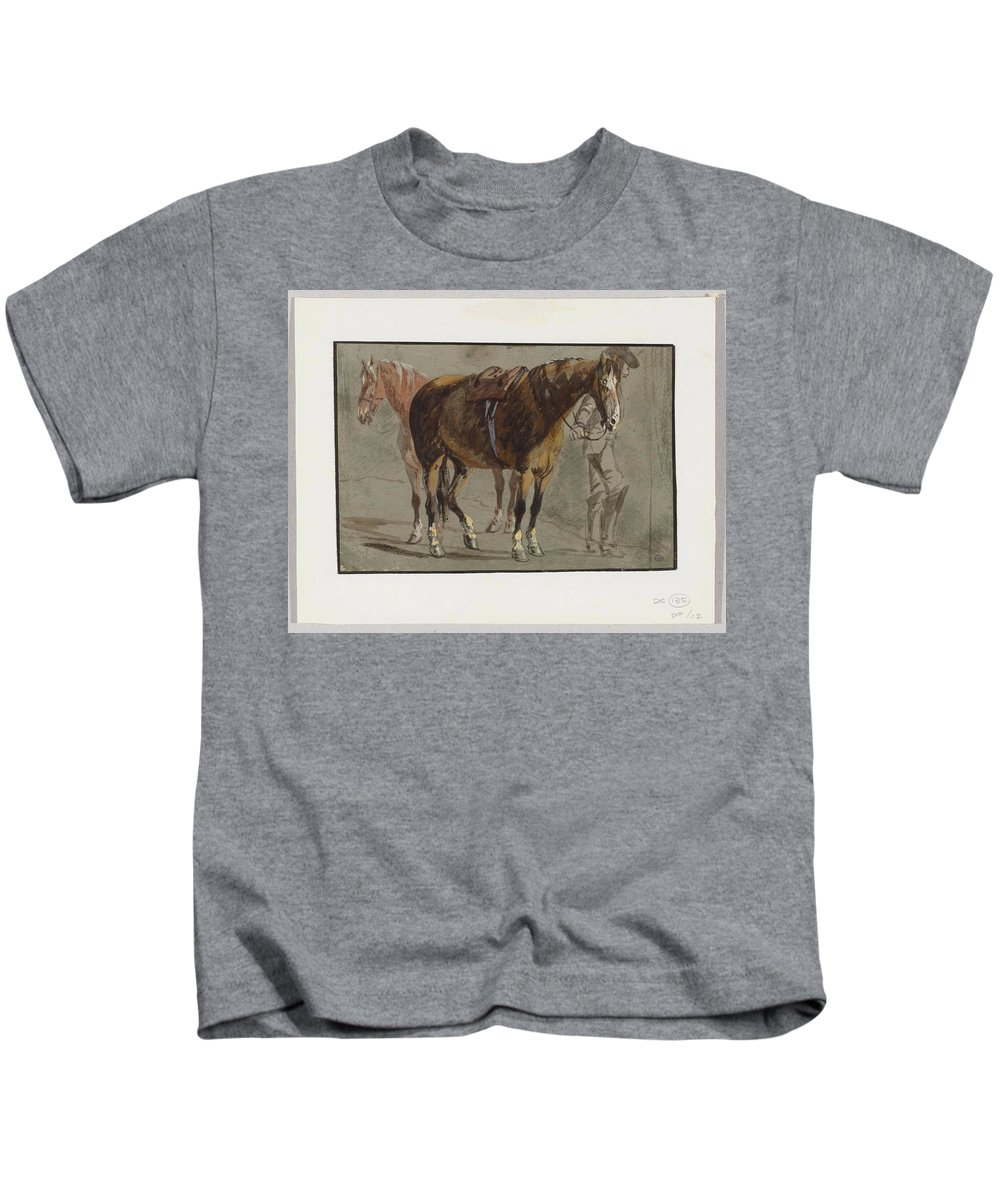 Brun Kids T-Shirt featuring the painting Brun De Versoix by Louis