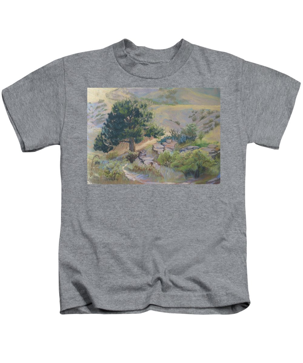 Pine Tree Kids T-Shirt featuring the painting Buckhorn Canyon by Heather Coen