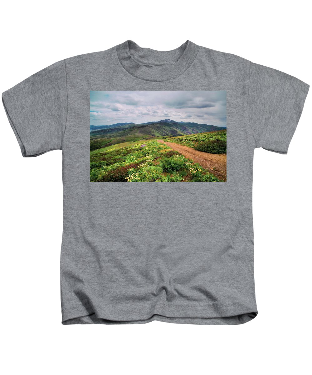 Nevada Kids T-Shirt featuring the photograph Buckskin Cyn June-3116-r1 by Karen W Meyer