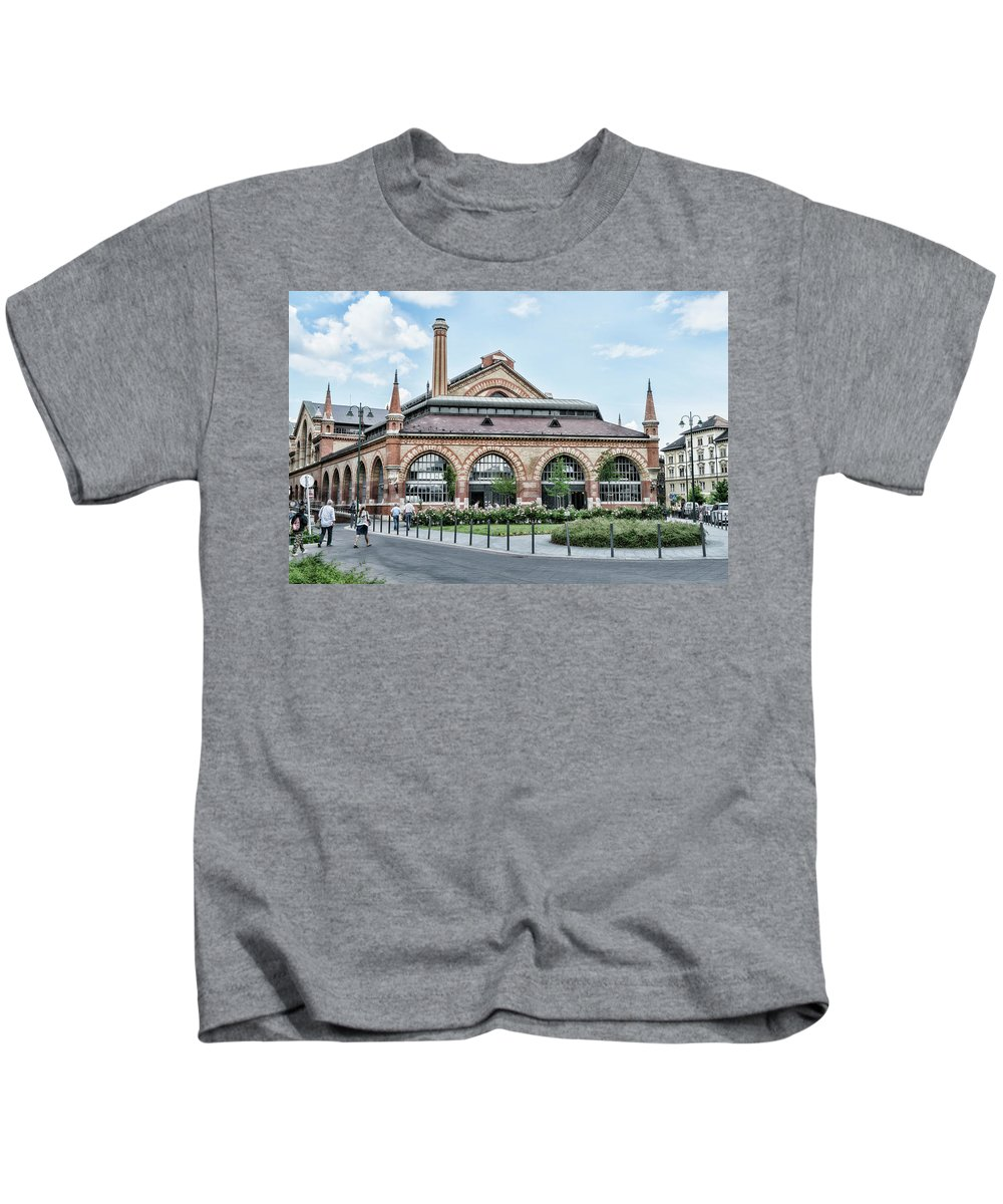 Budapest Kids T-Shirt featuring the photograph Budapest Central Market Exterior by Sharon Popek