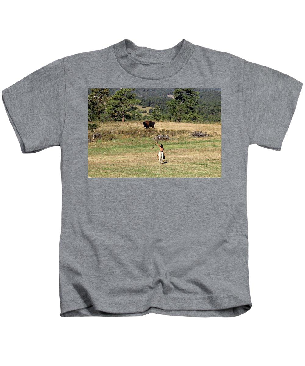 Buffalo Kids T-Shirt featuring the photograph Buffalo Hunt by Samantha Burrow
