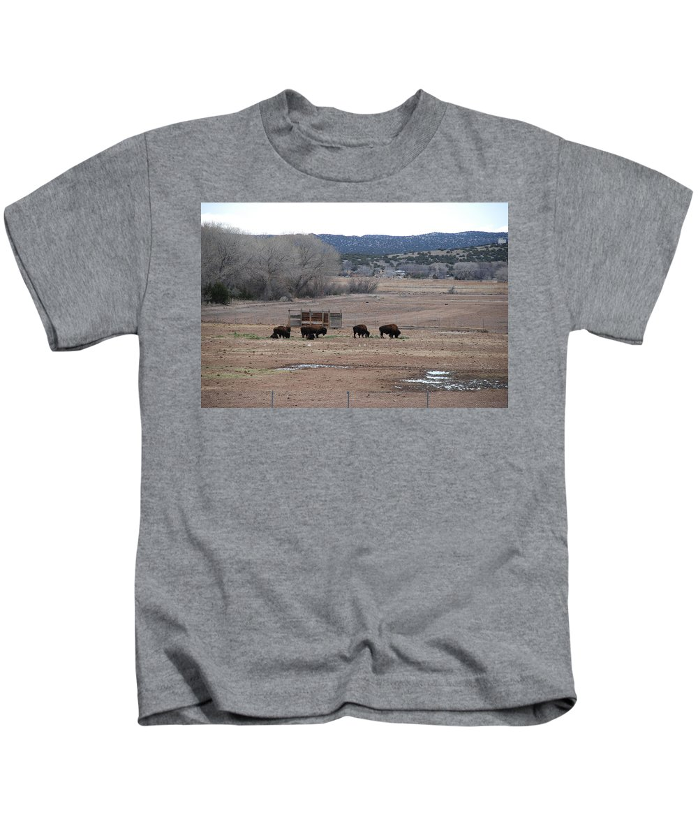 Buffalo Kids T-Shirt featuring the photograph Buffalo New Mexico by Rob Hans