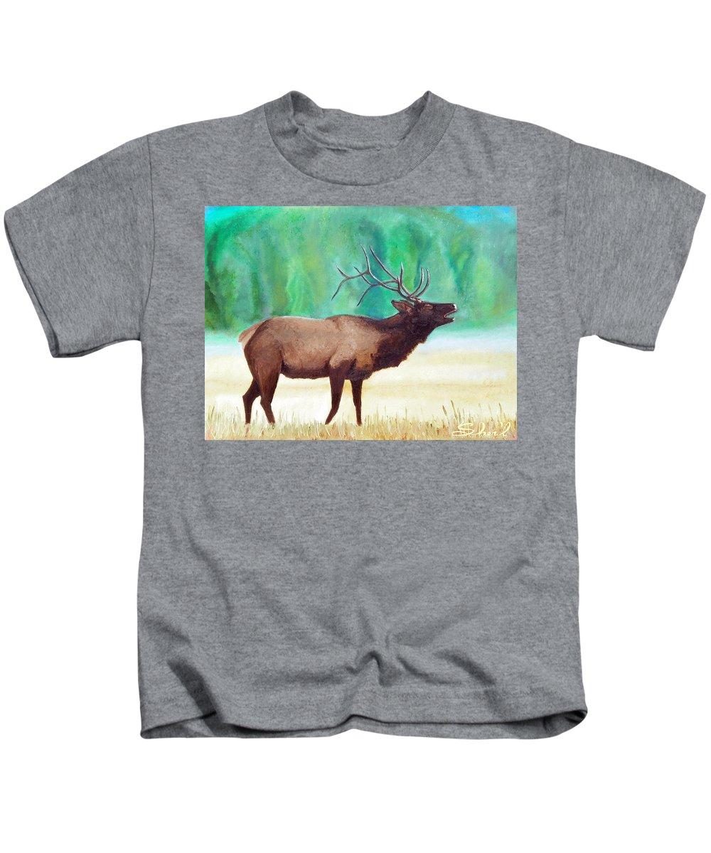 Wapiti Kids T-Shirt featuring the painting Bugling Elk by Sherril Porter