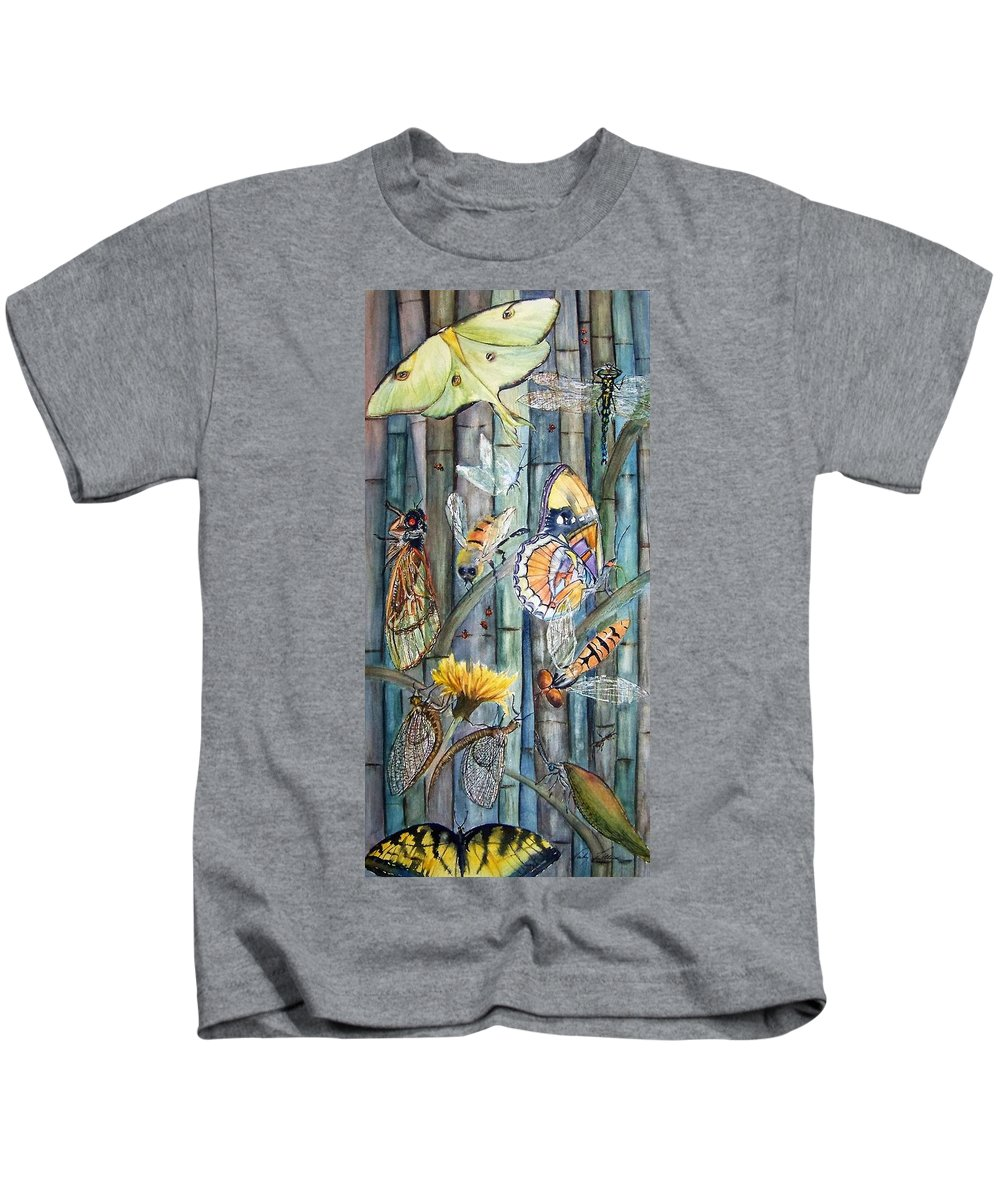 Bugs Kids T-Shirt featuring the painting Bugs N Bamboo by Vicky Lilla