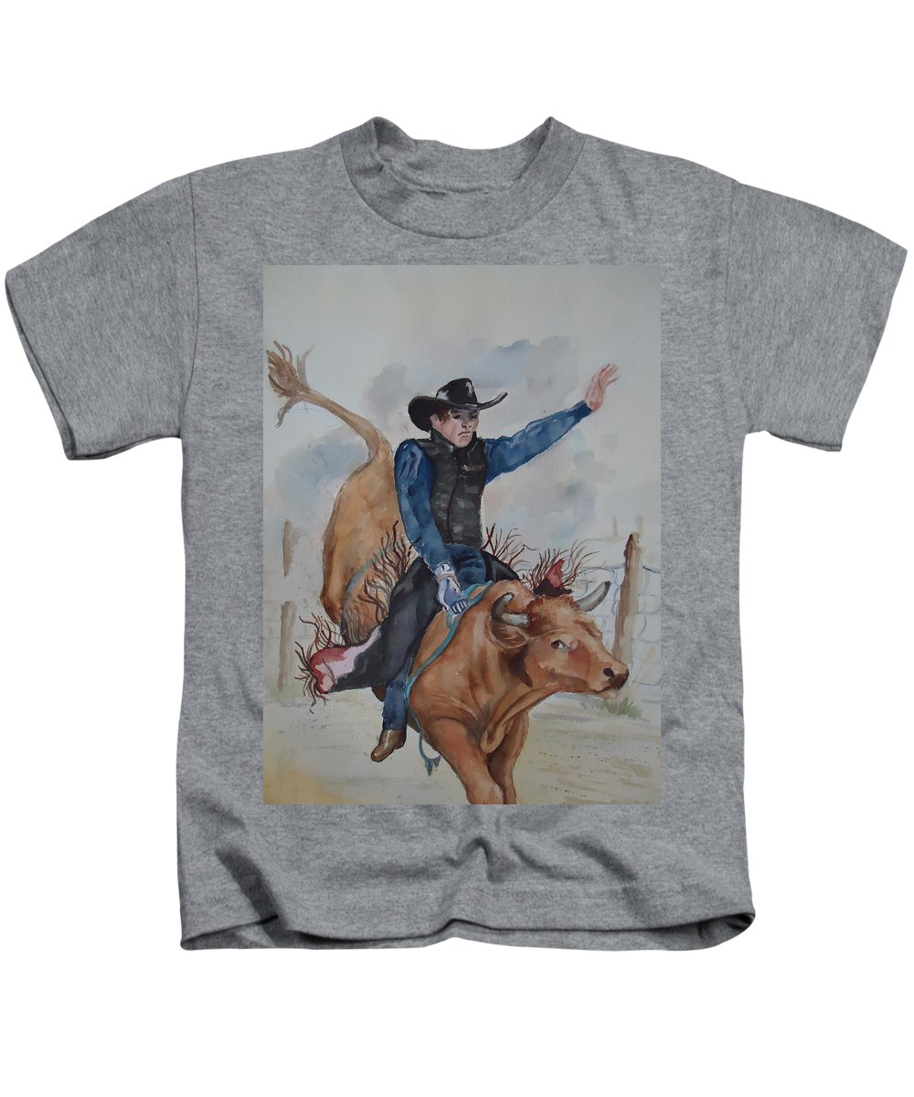 Ride'm Cowboy! Bull Rider Kids T-Shirt featuring the painting Bull Rider by Charme Curtin