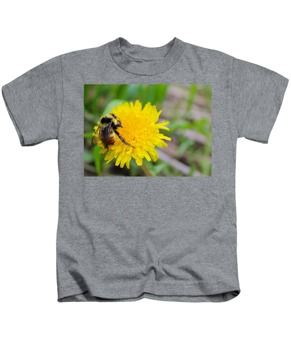 Flower Kids T-Shirt featuring the photograph Bumble Bees And Dandelions by Samantha Burrow
