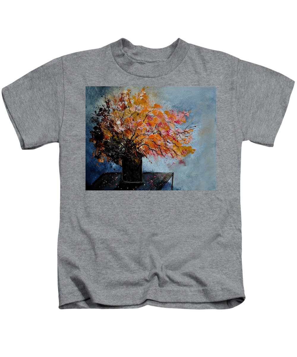 Flowers Kids T-Shirt featuring the painting Bunch 51140 by Pol Ledent