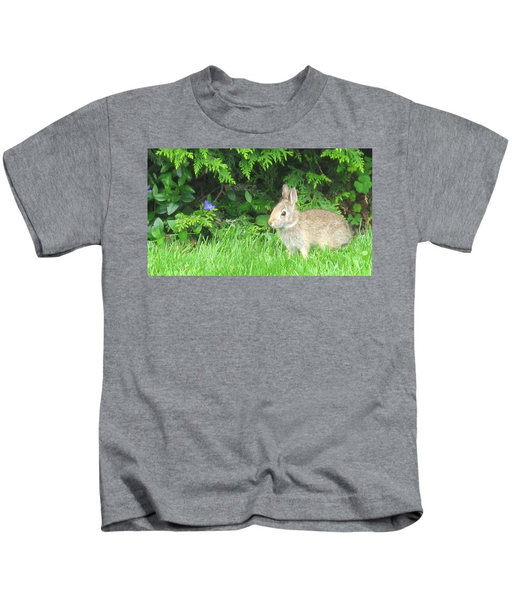 Rabbit Kids T-Shirt featuring the photograph Bunny In Repose by Ian MacDonald
