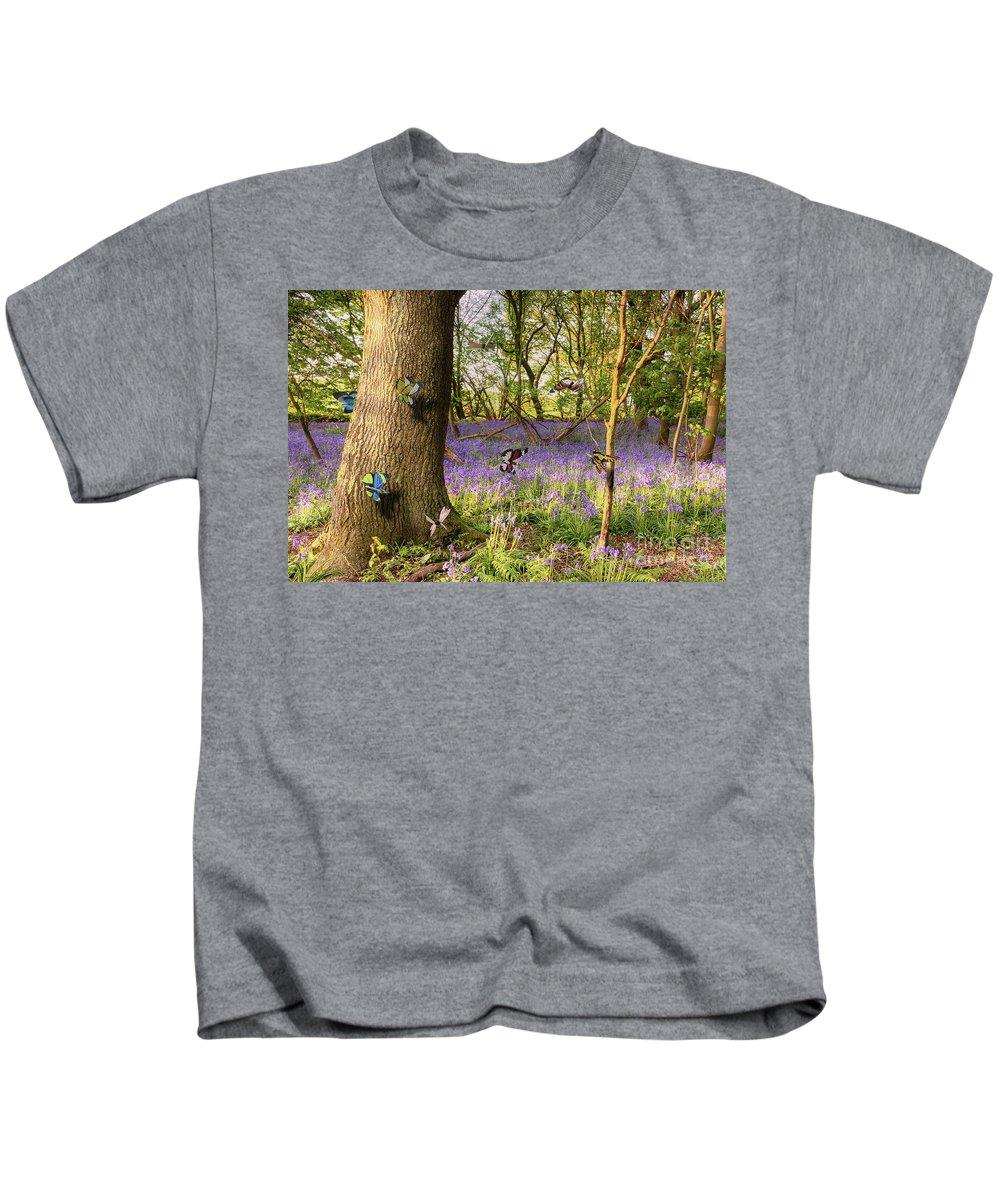 Butterflies Kids T-Shirt featuring the photograph Butterflies In A Bluebell Woodland by Simon Bratt Photography LRPS