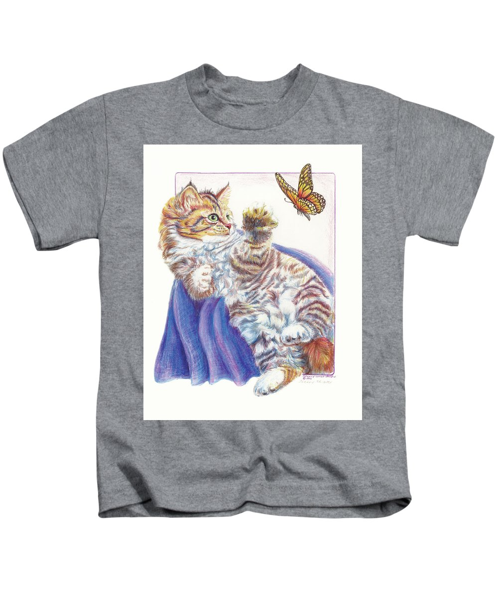 Cat Kids T-Shirt featuring the drawing Butterfly Kitten by Sherry Shipley