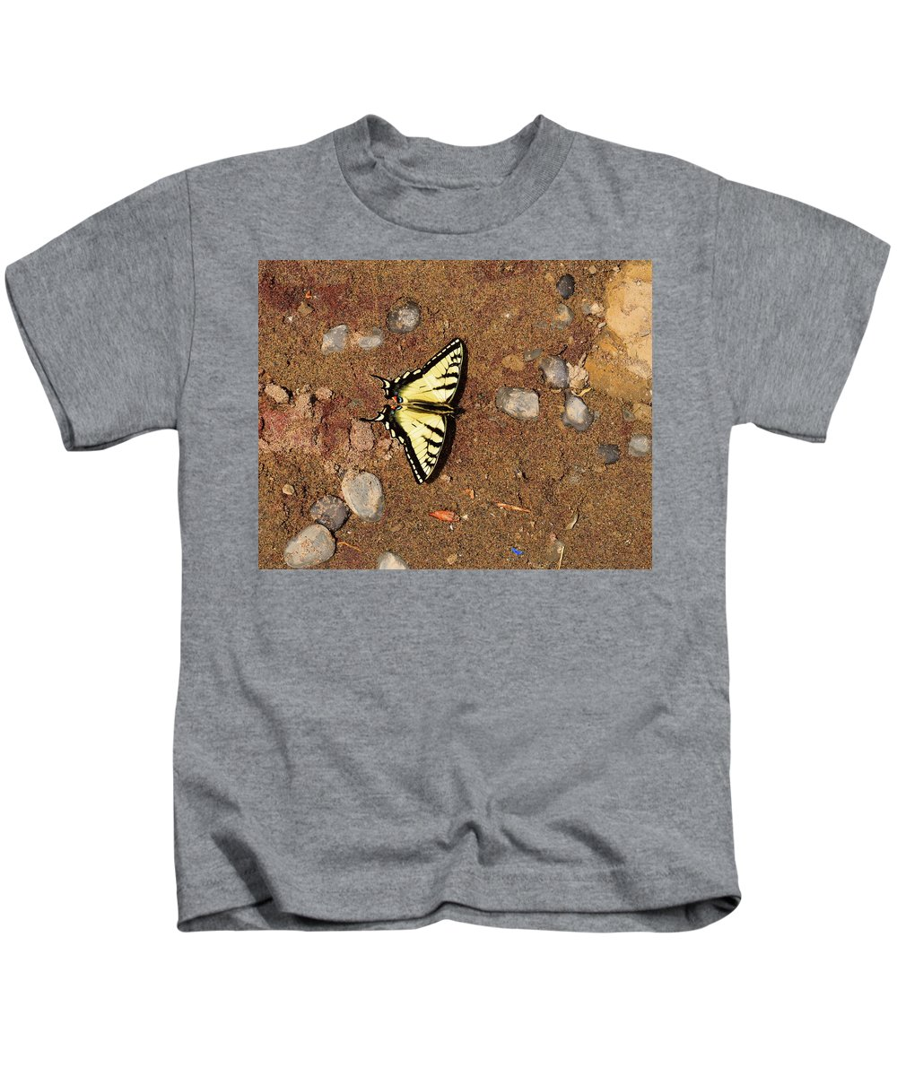 Butterfly Kids T-Shirt featuring the photograph Butterfly On The Sand Two by Lyle Crump