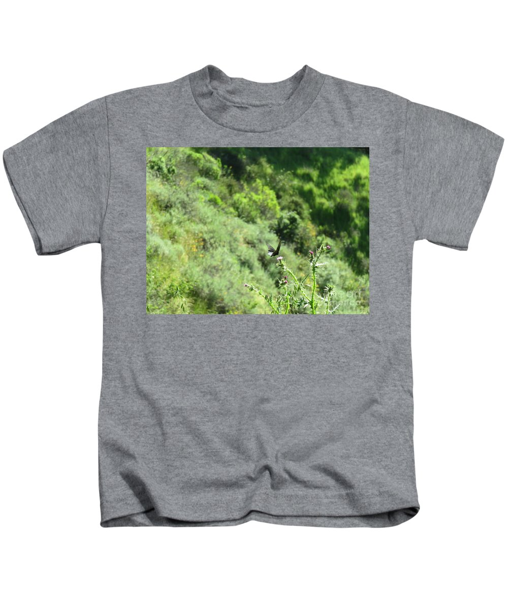 Landscape Kids T-Shirt featuring the photograph Butterfly On Thistle by Suzanne Leonard