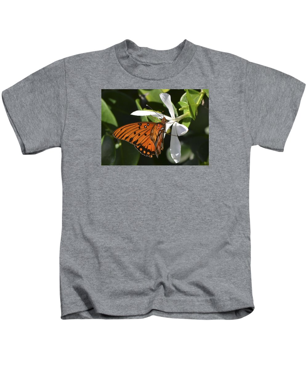Butterfly Kids T-Shirt featuring the photograph Butterfly On White by Karen Rose Warner