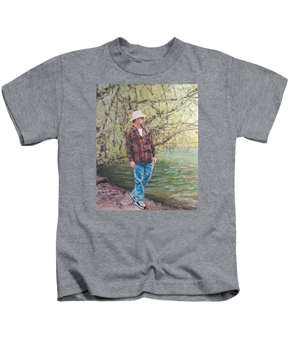 Landscapes Kids T-Shirt featuring the painting By The Lake - Self Portrait by Robert Levene