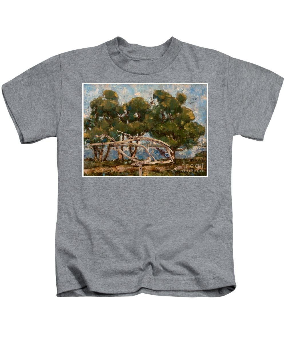 Landscape Kids T-Shirt featuring the mixed media By The River by Pemaro