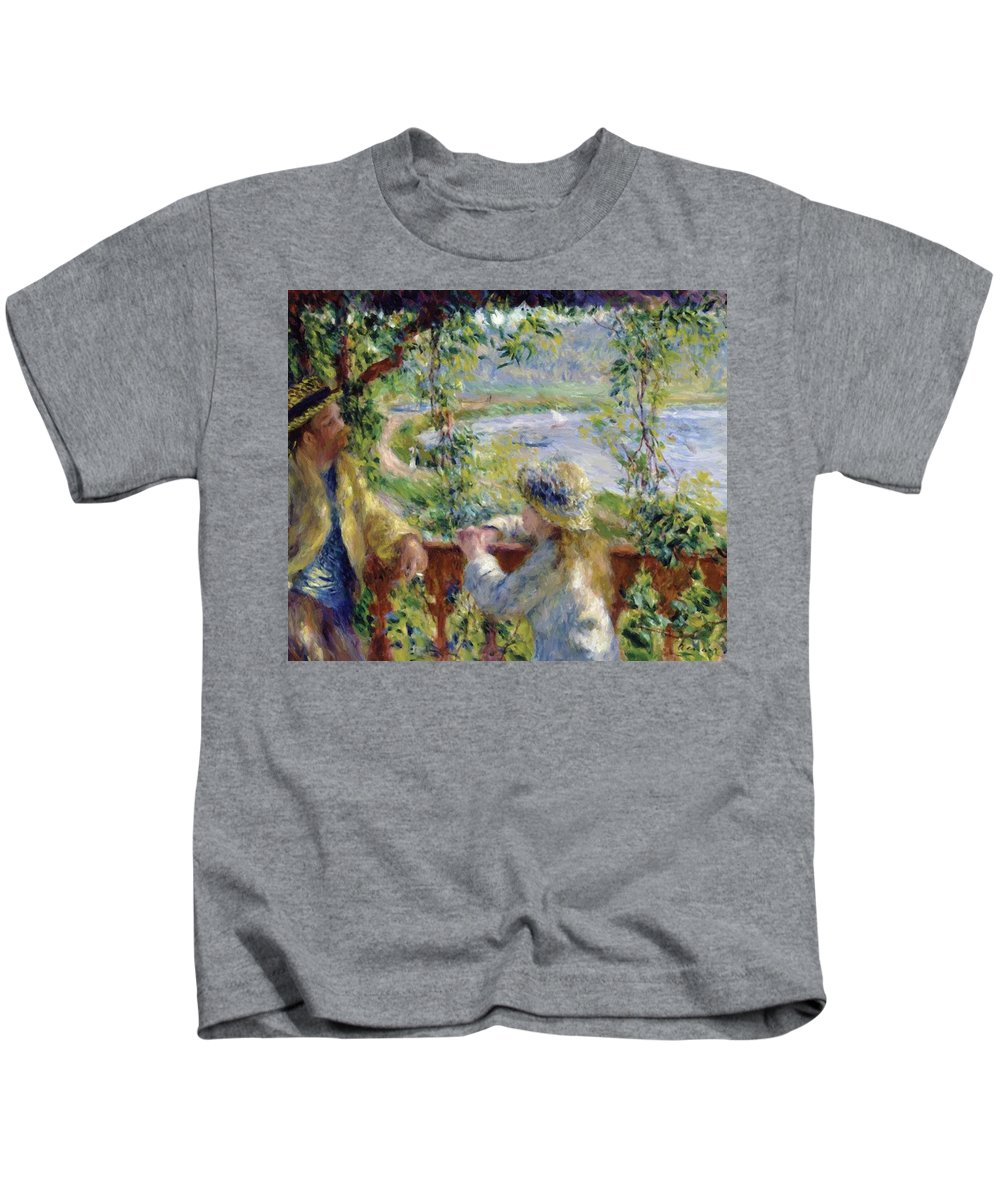 By Kids T-Shirt featuring the painting By The Water Near The Lake by Renoir PierreAuguste