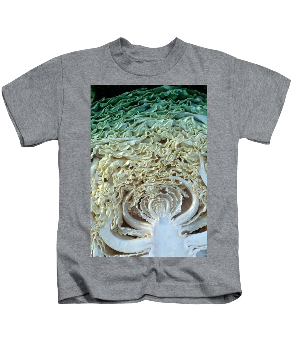 Cabbage Kids T-Shirt featuring the photograph Cabbage Universe by Laurie Paci