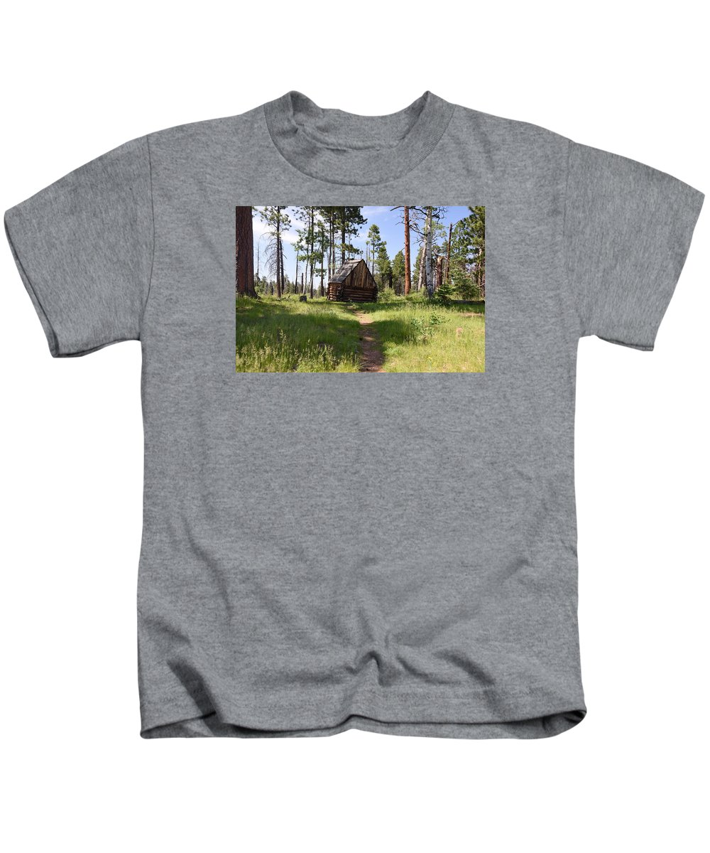 Photograph Kids T-Shirt featuring the photograph Cabin In The Woods by Richard Gehlbach