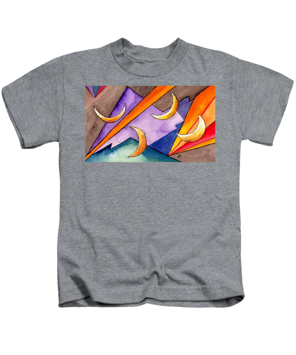 Watercolor Abstract Orange Purple Grey Moon Moons Design Fantasy Surreal Kids T-Shirt featuring the painting Cadence by Brenda Owen