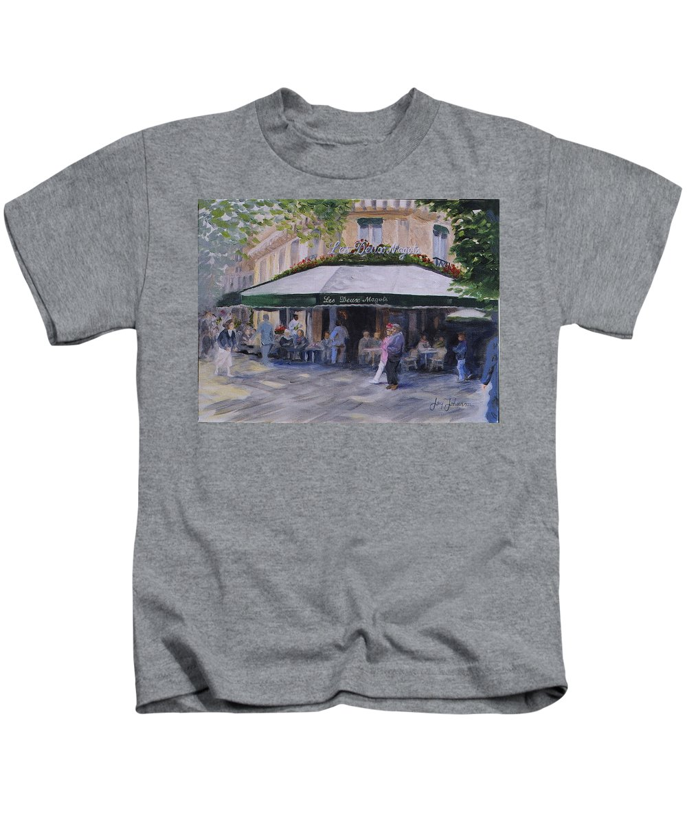 Cafe Magots Kids T-Shirt featuring the painting Cafe Magots by Jay Johnson