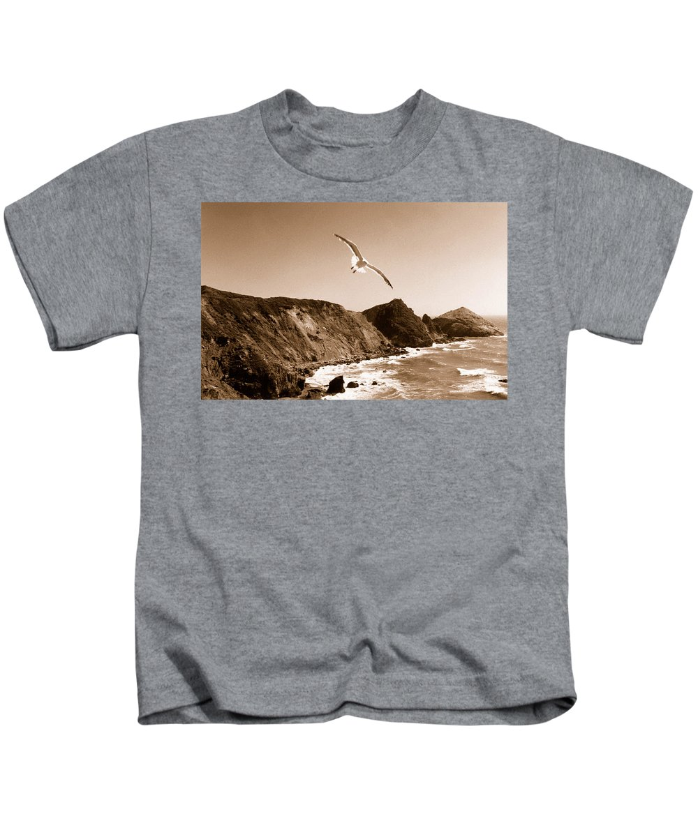 Seagull Kids T-Shirt featuring the photograph Cali Seagull by Trish Hale