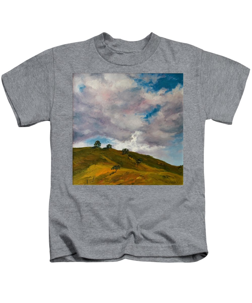 Sky Kids T-Shirt featuring the painting California Hills by Rick Nederlof
