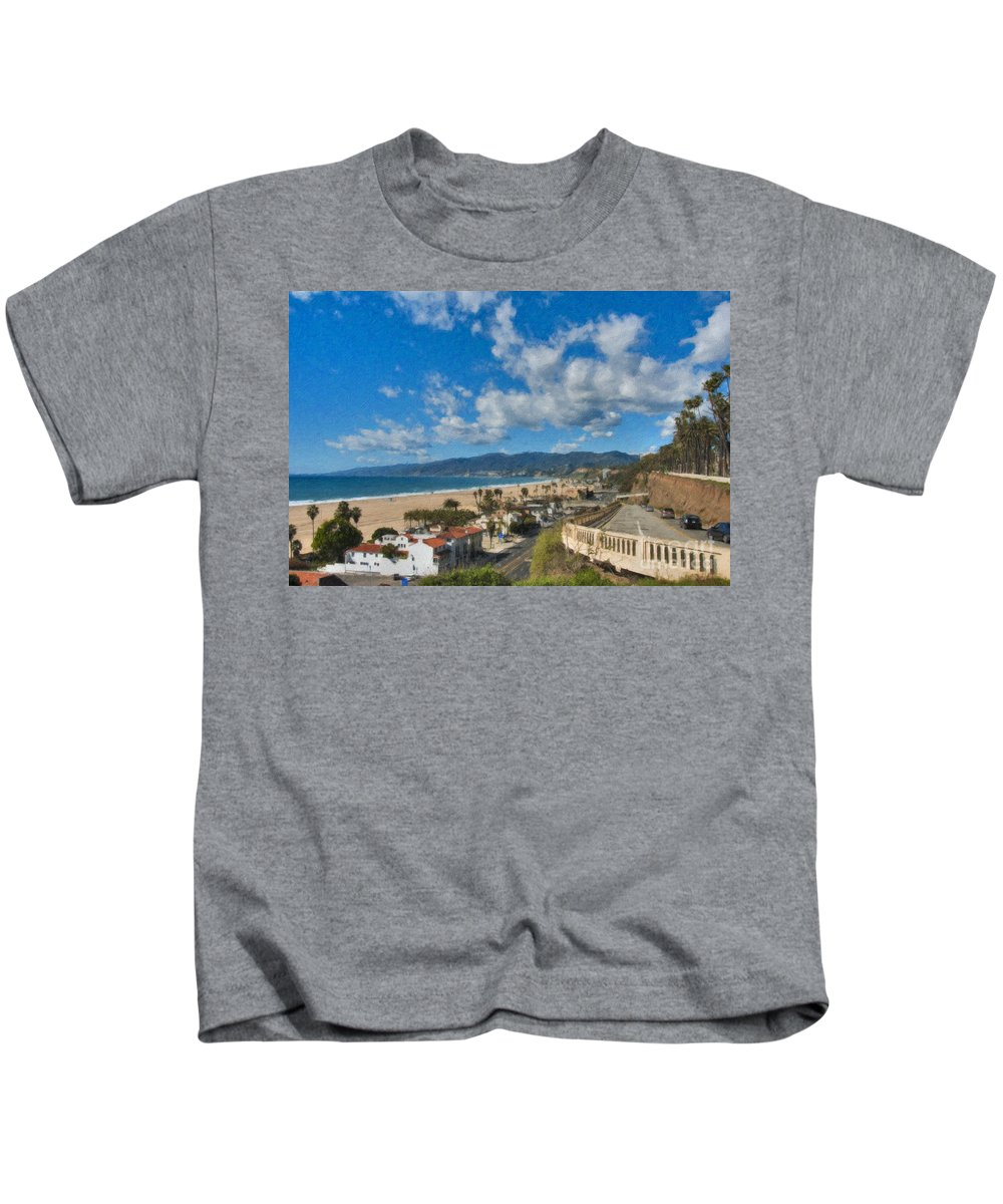 California Incline Palisades Park Ca Kids T-Shirt featuring the photograph California Incline Palisades Park Ca by David Zanzinger