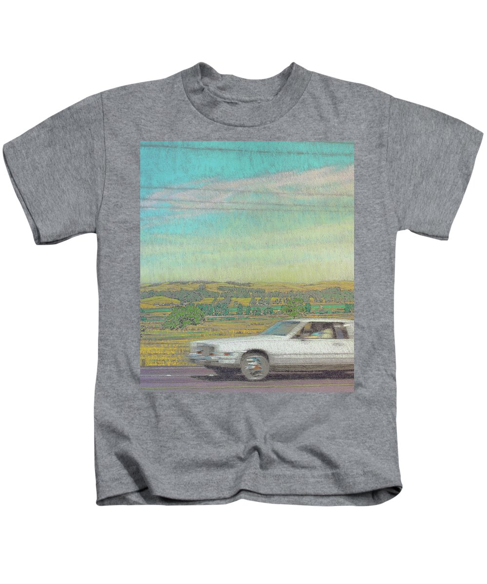 Landscape Kids T-Shirt featuring the drawing California by Tom Brooks