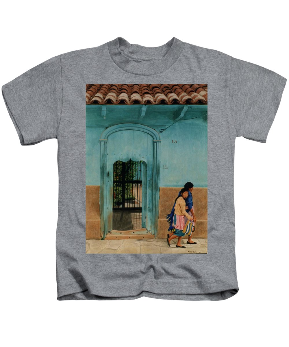 Hyperrealism Kids T-Shirt featuring the painting Calle Hermanos Dominquez by Michael Earney