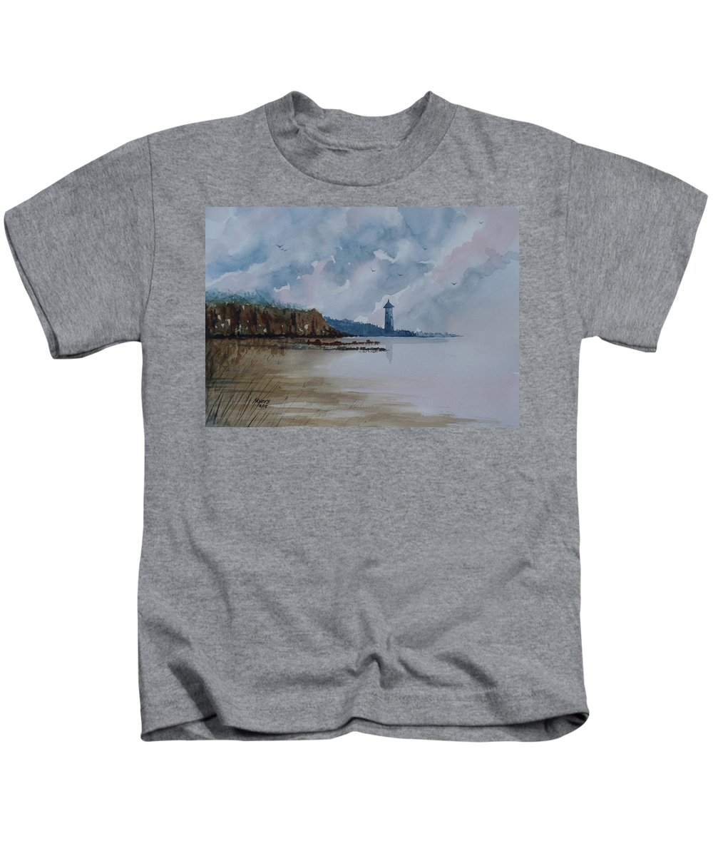 Watercolor Kids T-Shirt featuring the painting Calm by David K Myers
