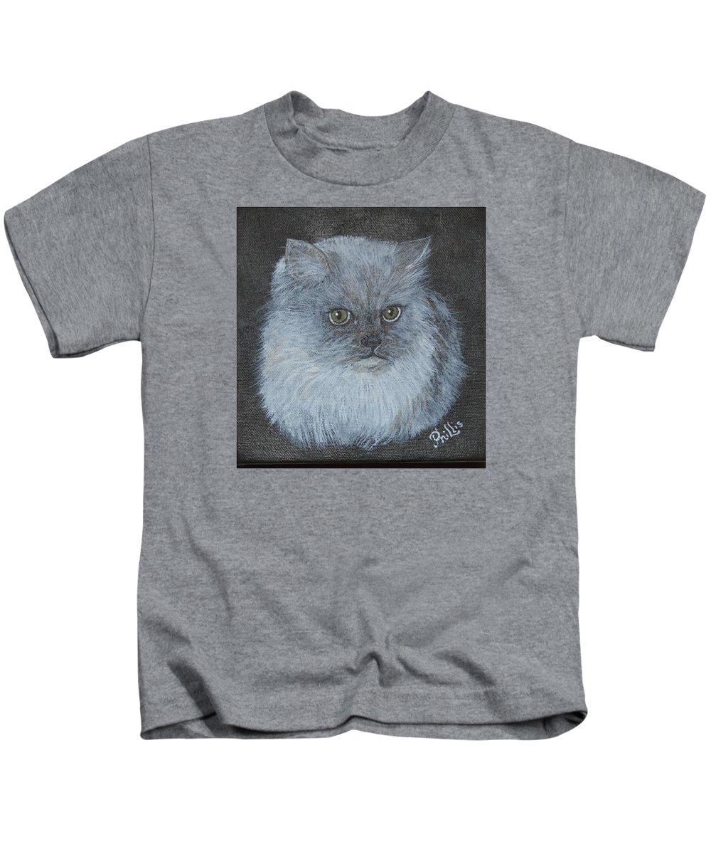 D Phillis Cook Kids T-Shirt featuring the painting Calvin Klein by D Phillis Cook