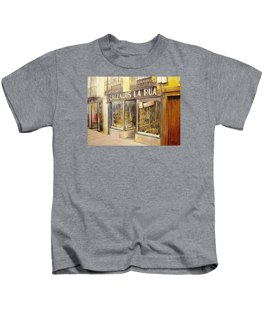 Shoes Shop Kids T-Shirt featuring the painting Calzados La Rua- Leon by Tomas Castano