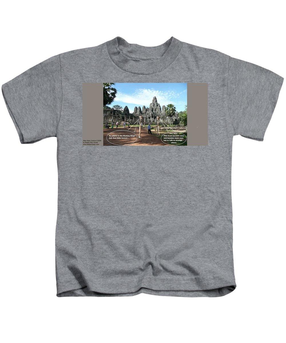Alien Nutz Comics Cambodia Kids T-Shirt featuring the mixed media Cambodia 2 by Robert aka Bobby Ray Howle